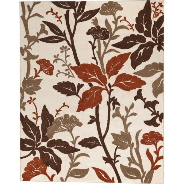 Blooming Flowers Ivory/Rust 9 ft. x 13 ft. Area Rug