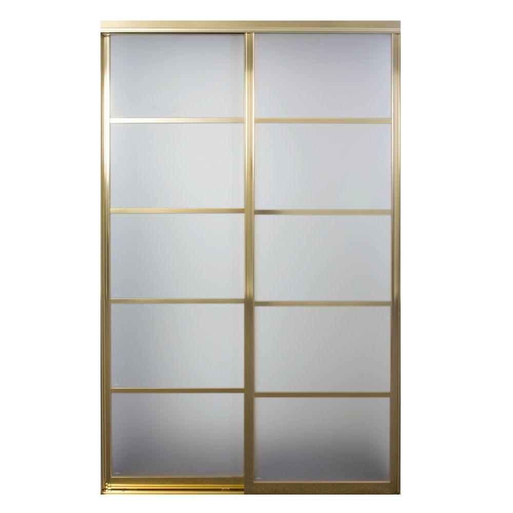 Silhouette 5-Lite Mystique Glass Bright Gold Aluminum Interior Sliding Door