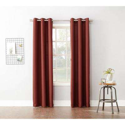 Semi-Opaque Paprika No. 918 Casual Montego Woven Grommet Top Curtain Panel, 48 in. W x 63 in. L
