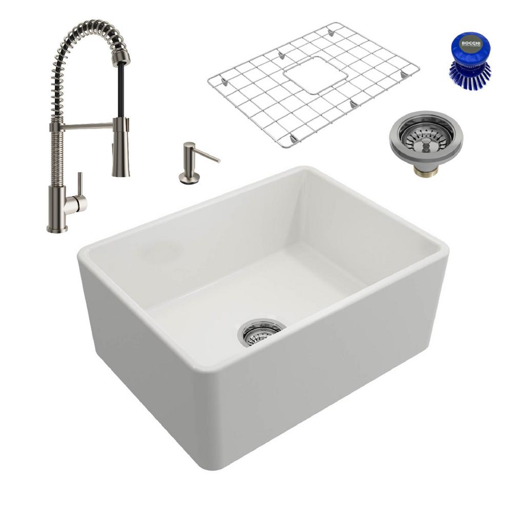 Classico All-in-One Farmhouse Fireclay 24 in. Single Bowl Kitchen Sink with