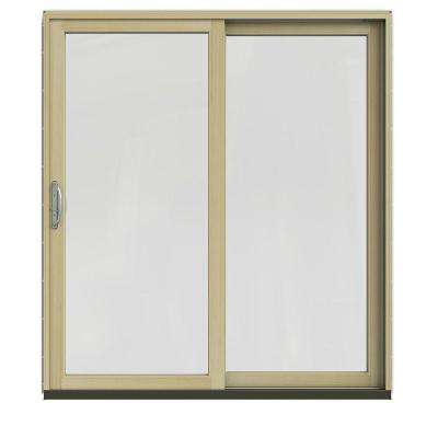 72 in. x 80 in. W-2500 Contemporary White Clad Wood Right-Hand Full Lite Sliding Patio Door w/Unfinished Interior