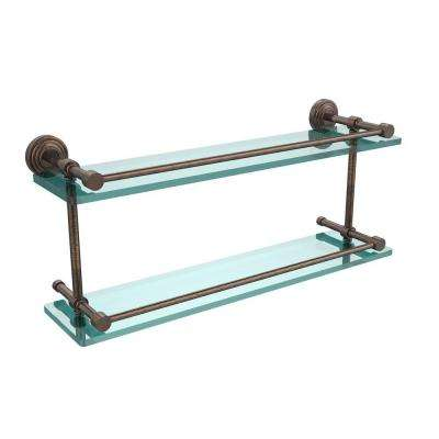Waverly Place 22 in. L x 8 in. H x 5 in. W 2-Tier Clear Glass Bathroom Shelf with Gallery Rail in Venetian Bronze