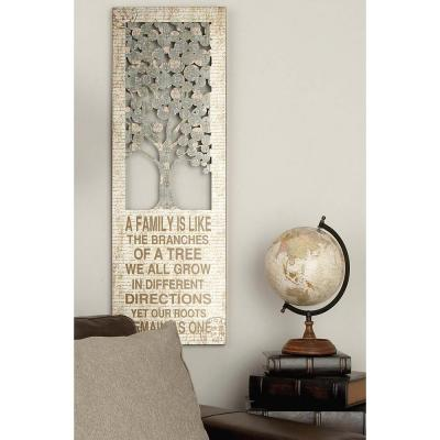 """12 in. x 36 in. Shabby Chic """"A Family is Like the Branches"""" Inspirational Statement Wall Decor"""