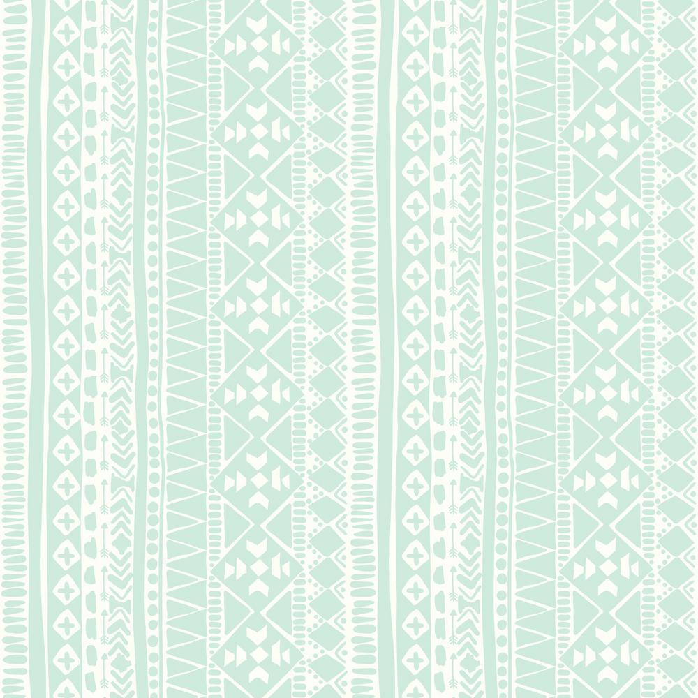 28.18 sq. ft. Blue Tribal Peel and Stick Wallpaper
