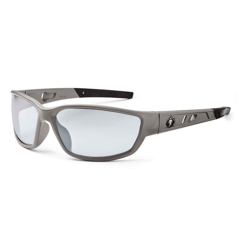 Ergodyne Skullerz Kvasir Matte Gray Safety Glasses, In/Outdoor Lens - ANSI Certified