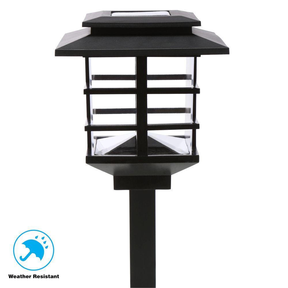 10 Light Plastic Black Solar Led Garden Set