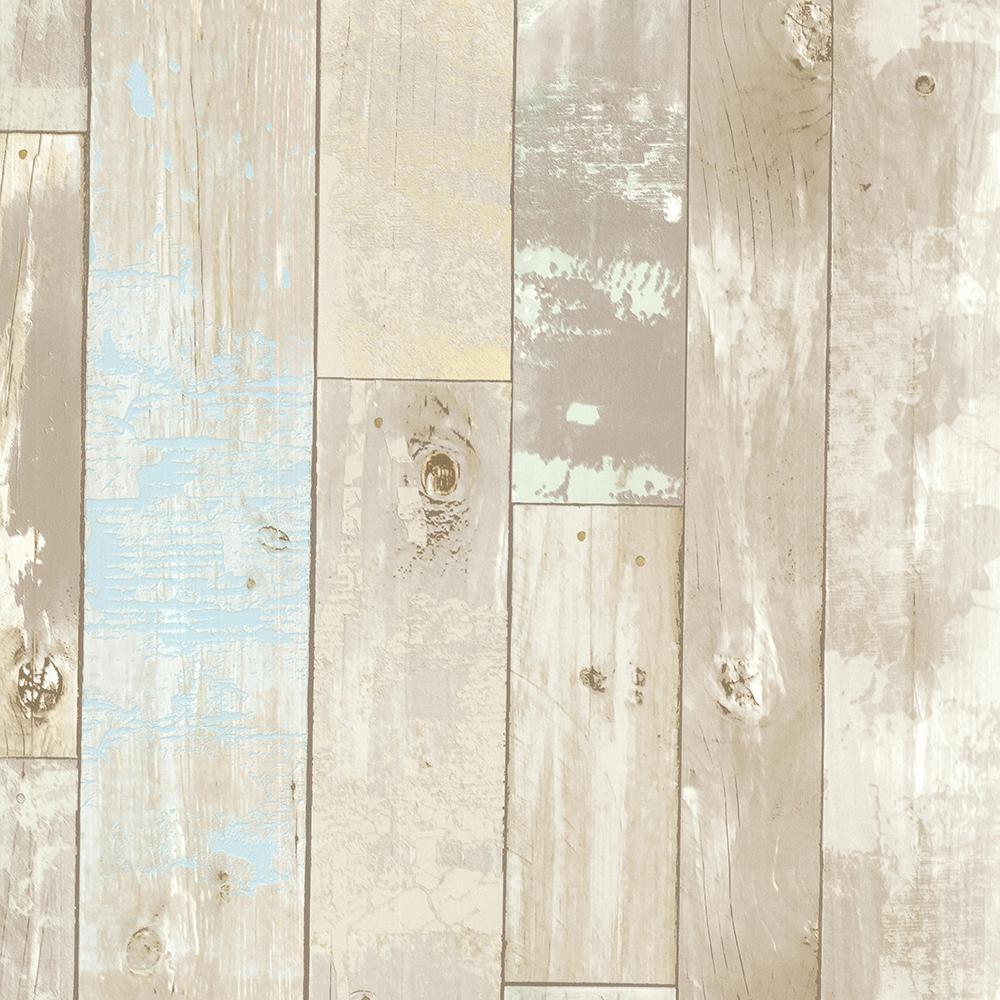 Brewster 56.4 sq. ft. Dean Neutral Distressed Wood Panel Wallpaper 2532-20440