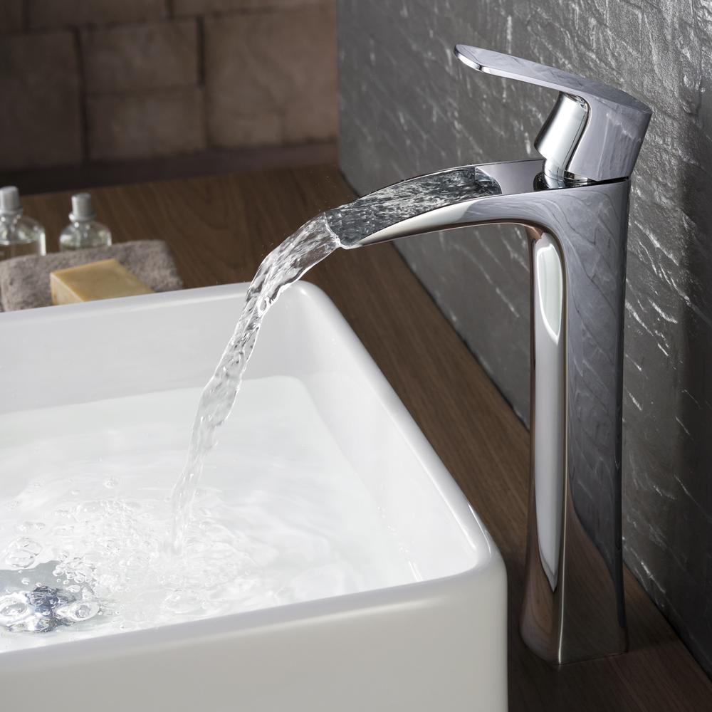 Fortore Single Hole 1-Handle Vessel Bathroom Faucet in Chrome