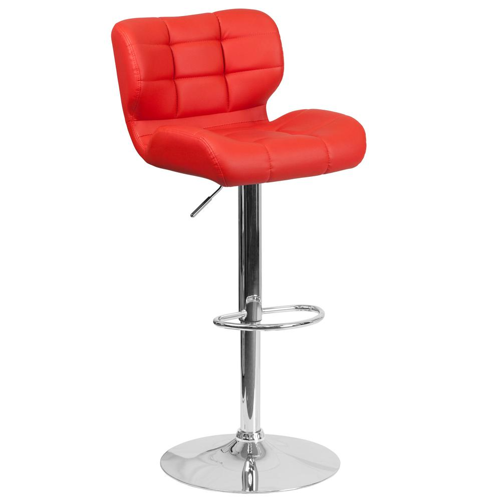 Flash Furniture Adjustable Height Red Cushioned Bar Stool