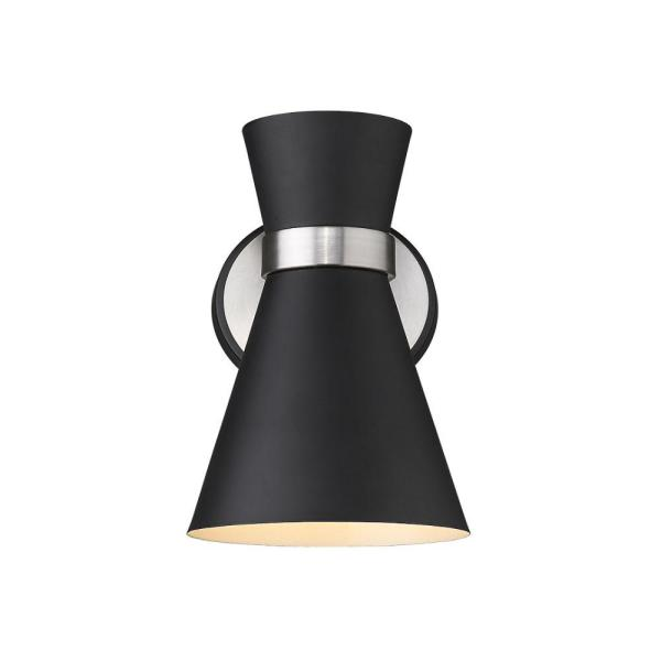 1-Light Matte Black and Brushed Nickel Wall Sconce with Matte Black Metal Shade