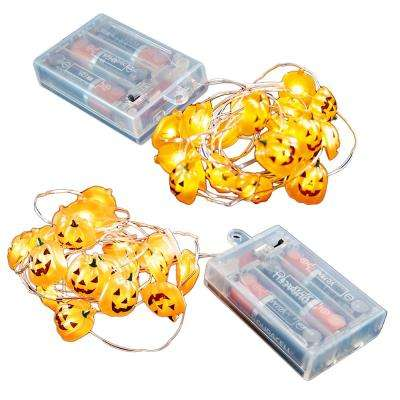 Battery Operated LED Waterproof Mini String Lights with Timer (20-Count) Jack O' Lantern (Set of 2)
