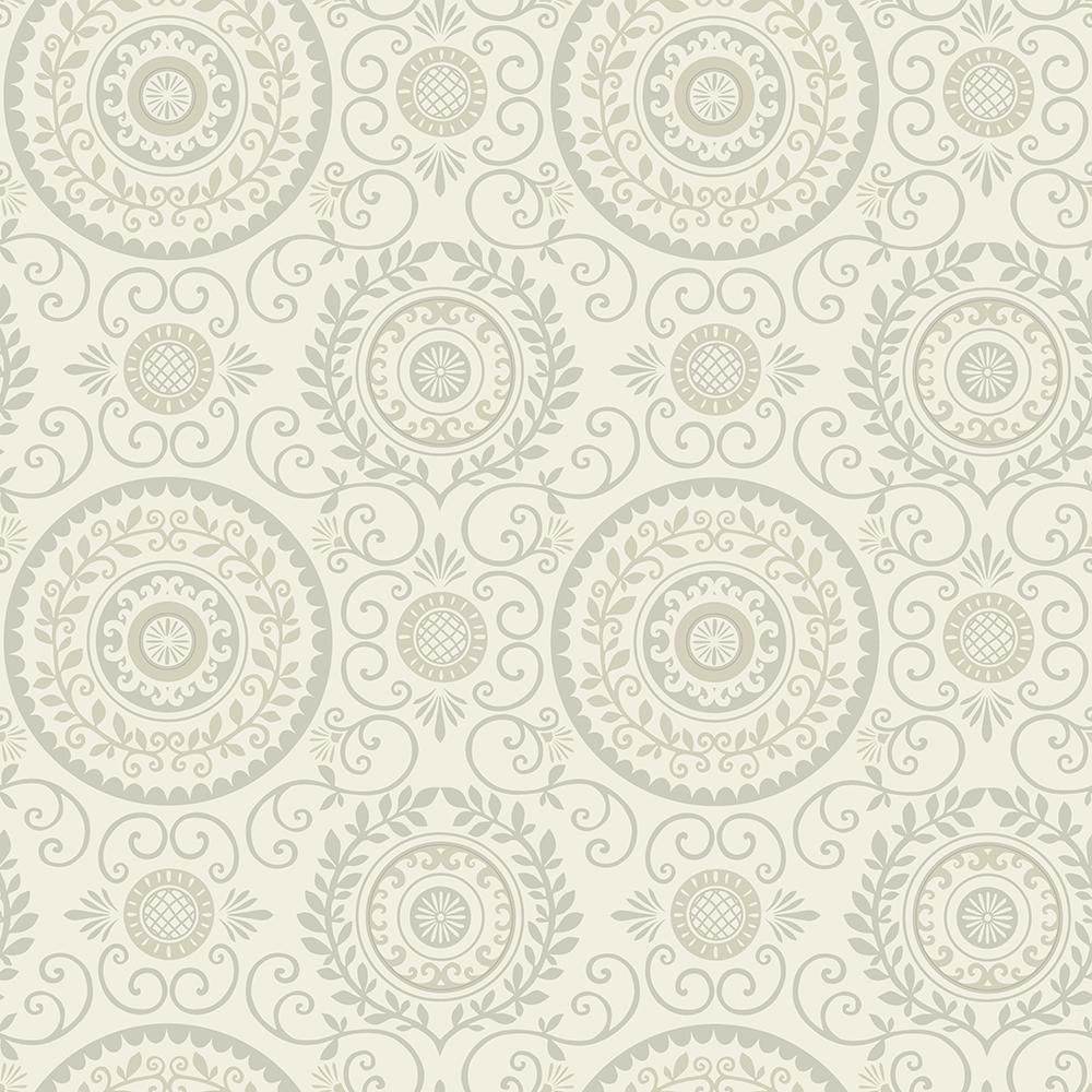 Annabel Grey Medallion Wallpaper