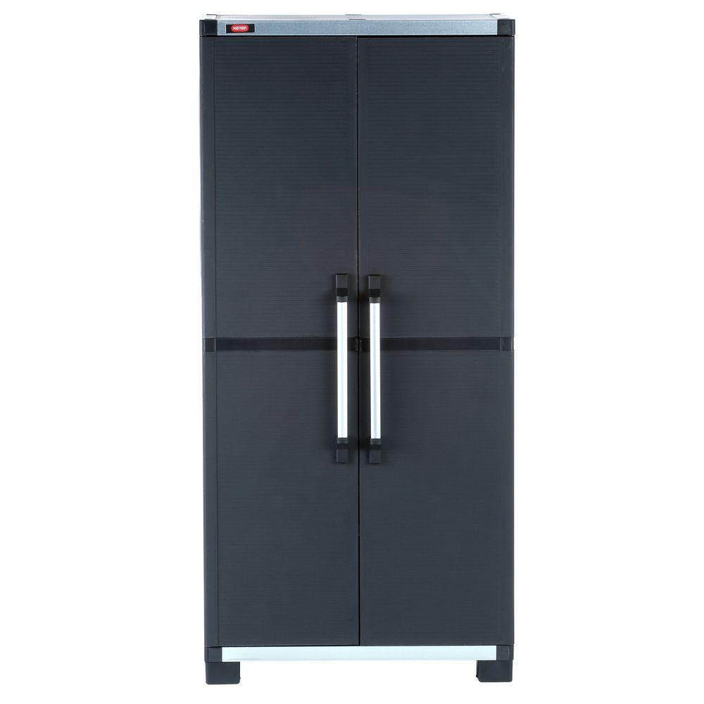 Wide Xl Freestanding Plastic Utility Cabinet In Black