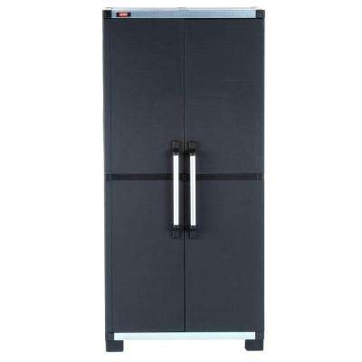 35 in. x 74 in. Wide XL Freestanding Plastic Utility Cabinet in Black