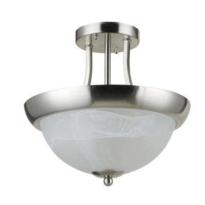 Col.Bisbee 2-Light Satin Nickel Semi-Flush Mount