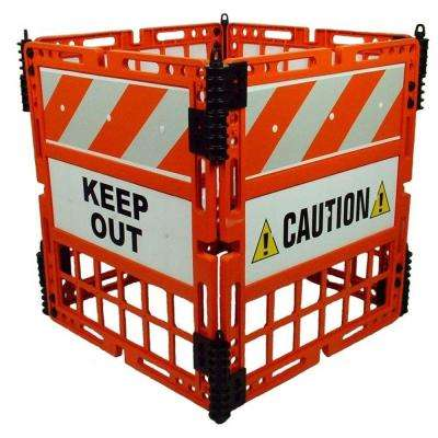 Orange Safety Barrier with 4 Barriers and Reflective Panels and Signs