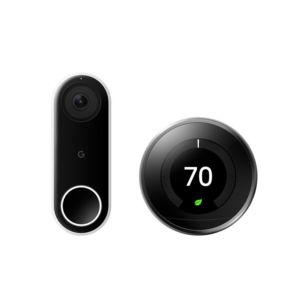 Nest Hello Video Doorbell + Nest Learning Thermostat 3rd Gen Mirror Black