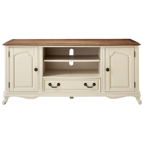 Home Decorators Collection Provence Ivory Entertainment Center with Ash Brown Top