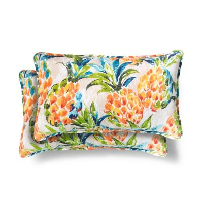 Hampton Bay 20 in. x 12 in. Pineapples Outdoor Lumbar Pillow (2 Pack)