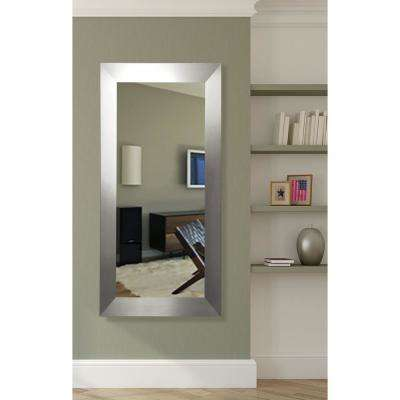 21 in. x 60 in. Silver Wide Rounded Beveled Slender Floor Body Mirror