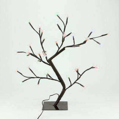 20 in. LED Lighted Cherry Blossom Flower Tree Multi-Color and Warm White Changing Lights