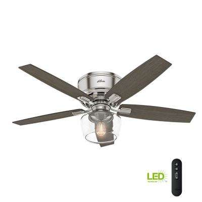 Led Low Profile Brushed Nickel Indoor Ceiling Fan With Light And Remote