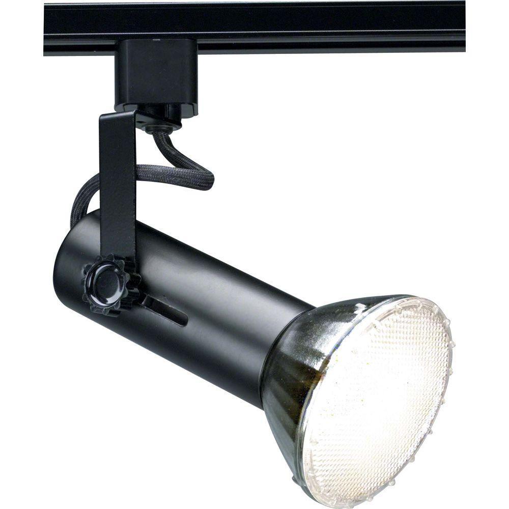 Glomar 1-Light 2 in. Black Universal Holder Track Lighting Head