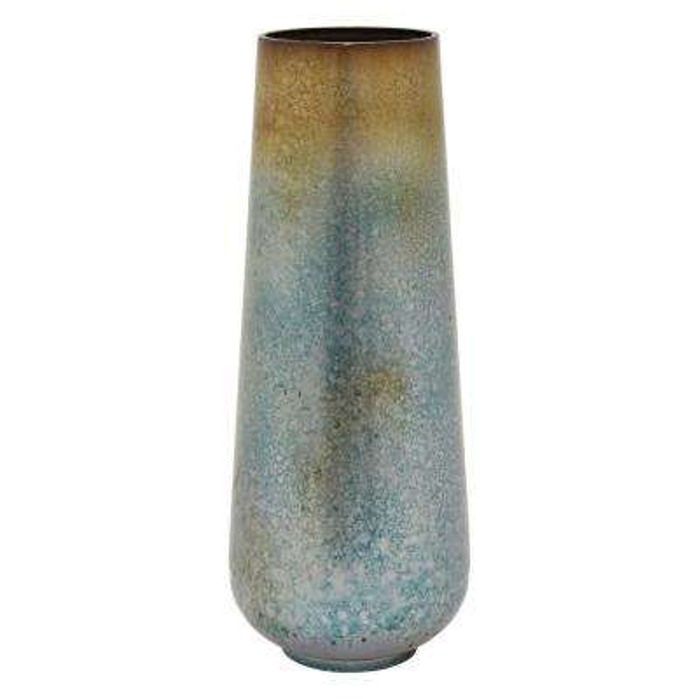 21.75 in. Green Metal Vase