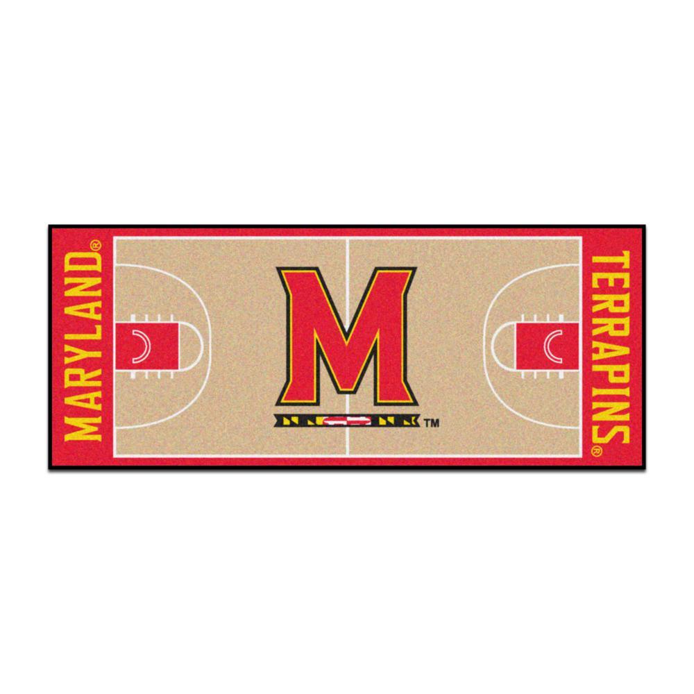 NCAA - University of Maryland Tan 3 ft. x 6 ft. Indoor Basketball Court Runner Rug