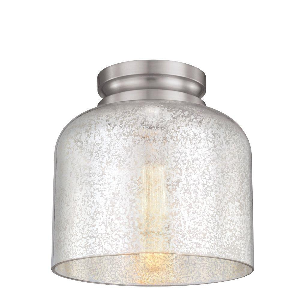 Hounslow 9 in. W. 1-Light Brushed Steel Flushmount