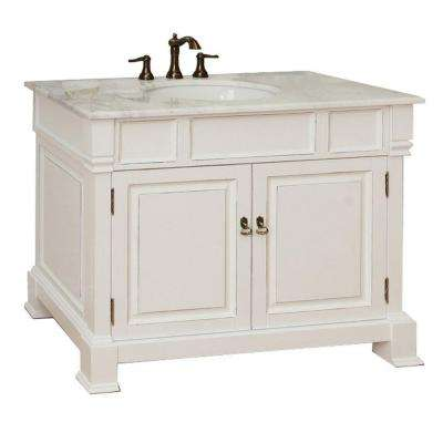 Olivia 42 in. W x 35-1/2 in. H Single Vanity in White with Marble Vanity Top in White