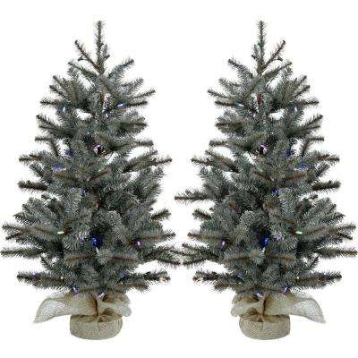 3 ft. Heritage Pine Artificial Trees with Burlap Bases and Battery-Operated Multi-Colored LED String Lights (Set of 2)