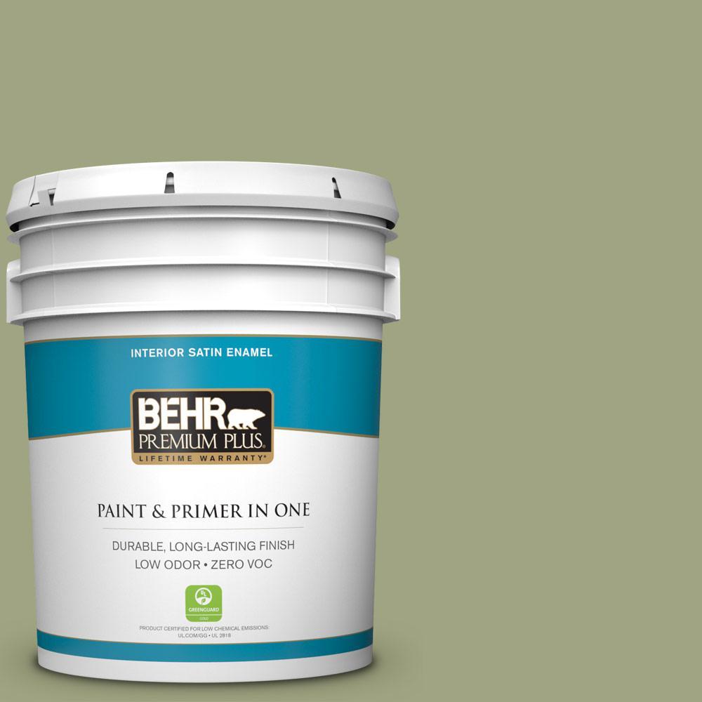 BEHR Premium Plus 5-gal. #410F-4 Mother Nature Zero VOC Satin Enamel Interior Paint