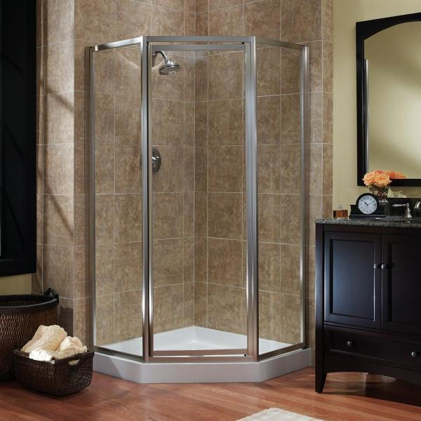 Tides 18-1/2 in. x 24 in. x 18-1/2 in. x 70 in. Framed Neo-Angle Pivot Shower Door in Brushed Nickel and Clear Glass
