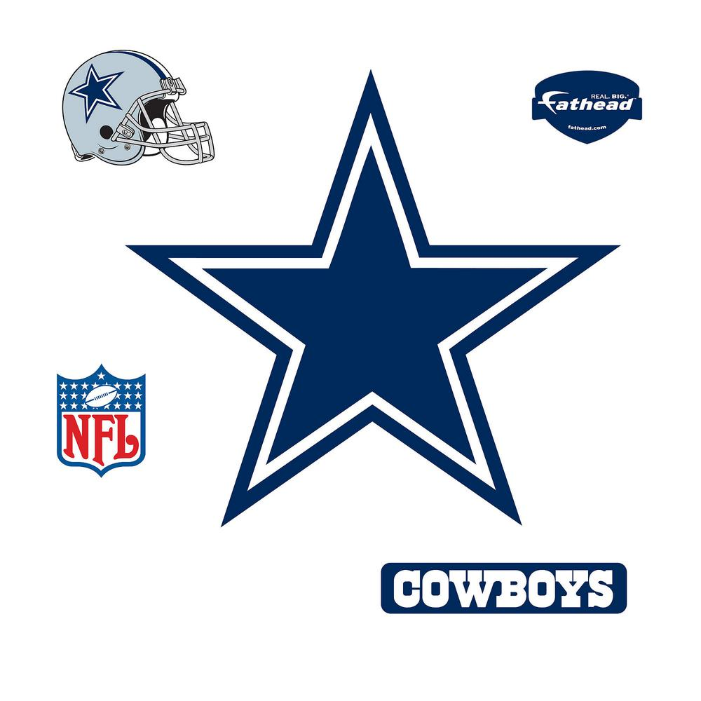 Fathead 39 in. H x 42 in. W Dallas Cowboys Logo Wall Mural-14-14011 ... e05f7a7b3