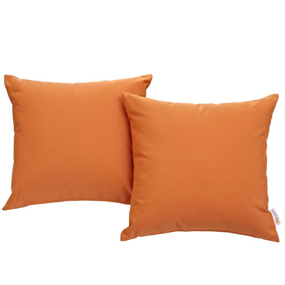 Convene Patio Square Outdoor Throw Pillow Set in Orange (2-Piece)