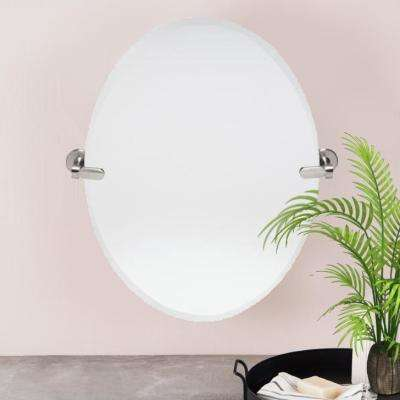 21 in. W x 24 in. H Oval Pivoting Beveled Frameless Mirror with Brushed Nickel Hardware