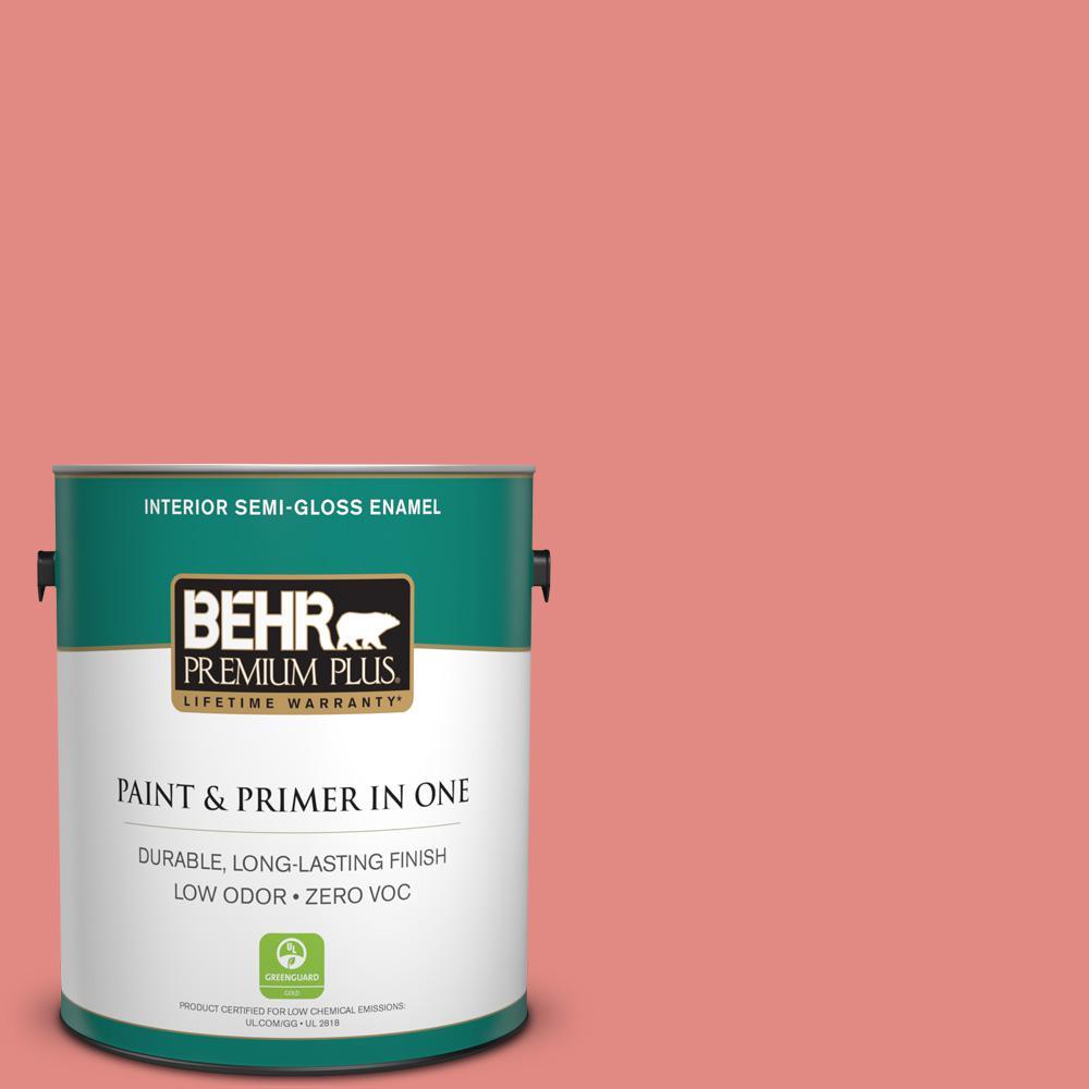 1 gal. #HDC-SP16-12 Begonia Zero VOC Semi-Gloss Enamel Interior Paint