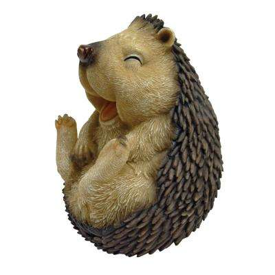 5 in. H Roly Poly Laughing Hedgehog Small Garden Statue