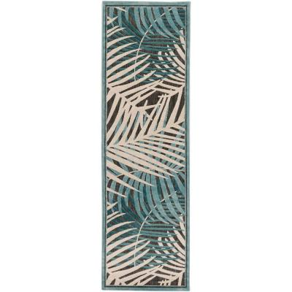 Guaral Teal 3 ft. x 8 ft. Indoor/Outdoor Runner Rug