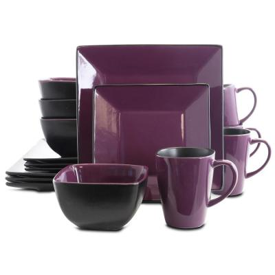 Mulberry Loft 16-Piece Purple Stoneware Dinnerware Set