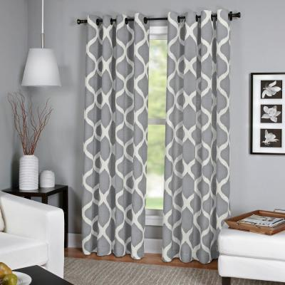 Luna Light Gray Linen Look Window Curtain - 52 in. W x 95 in. L