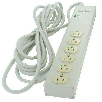 15 Amp Hospital Grade Surge Protected 6-Outlet Power Strip, 952 Joules, No Switch, 15 Foot 14-3 SJT Cord, Beige