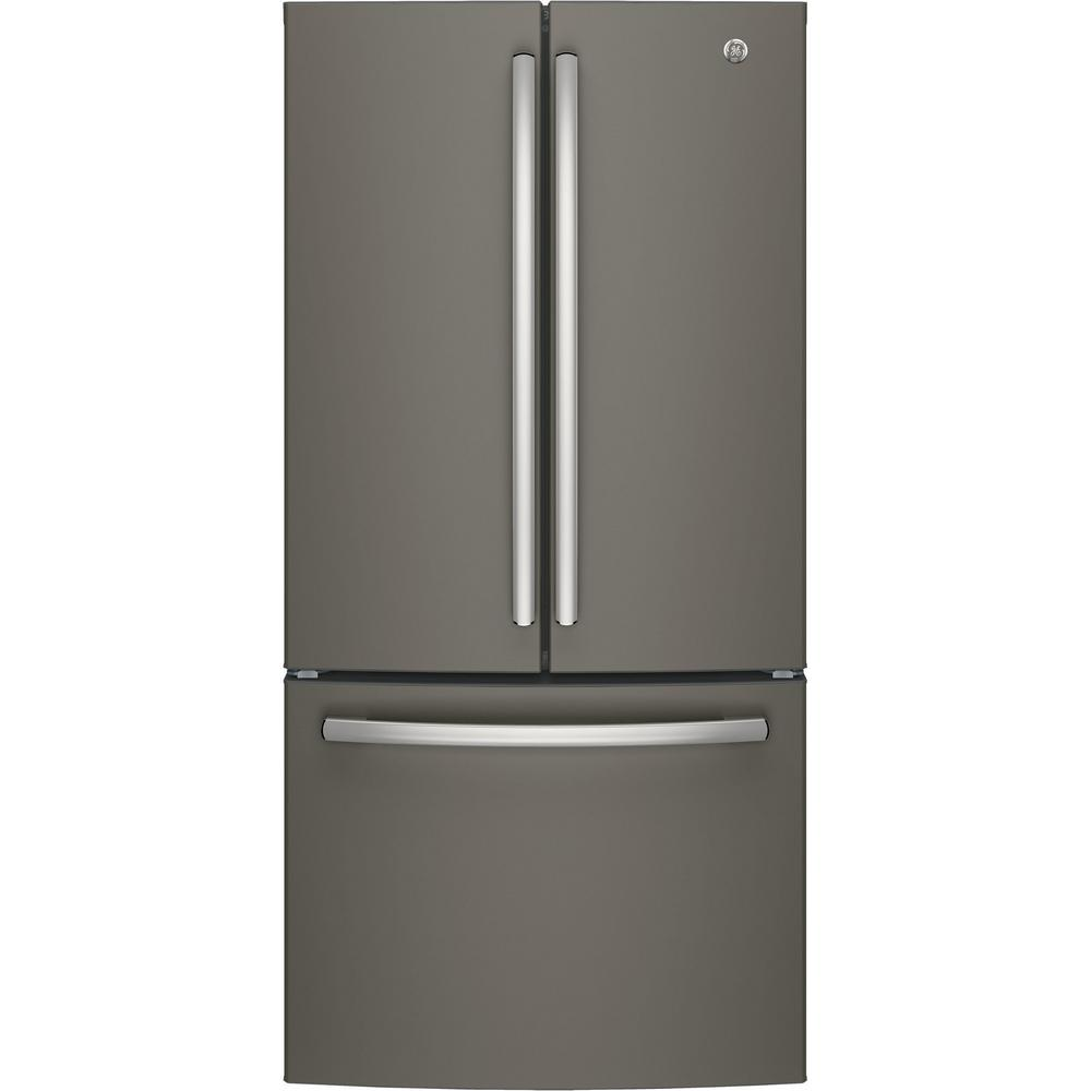 GE 33 In. W 18.6 Cu. Ft. French Door Refrigerator In Slate