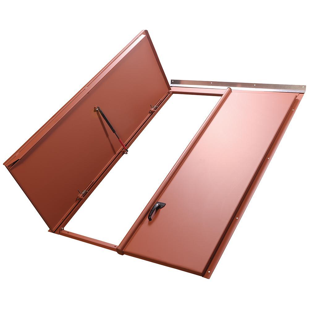 Classic 43.25 in. x 65.25 in. Red Matte Primed Steel Replacement Cellar Door