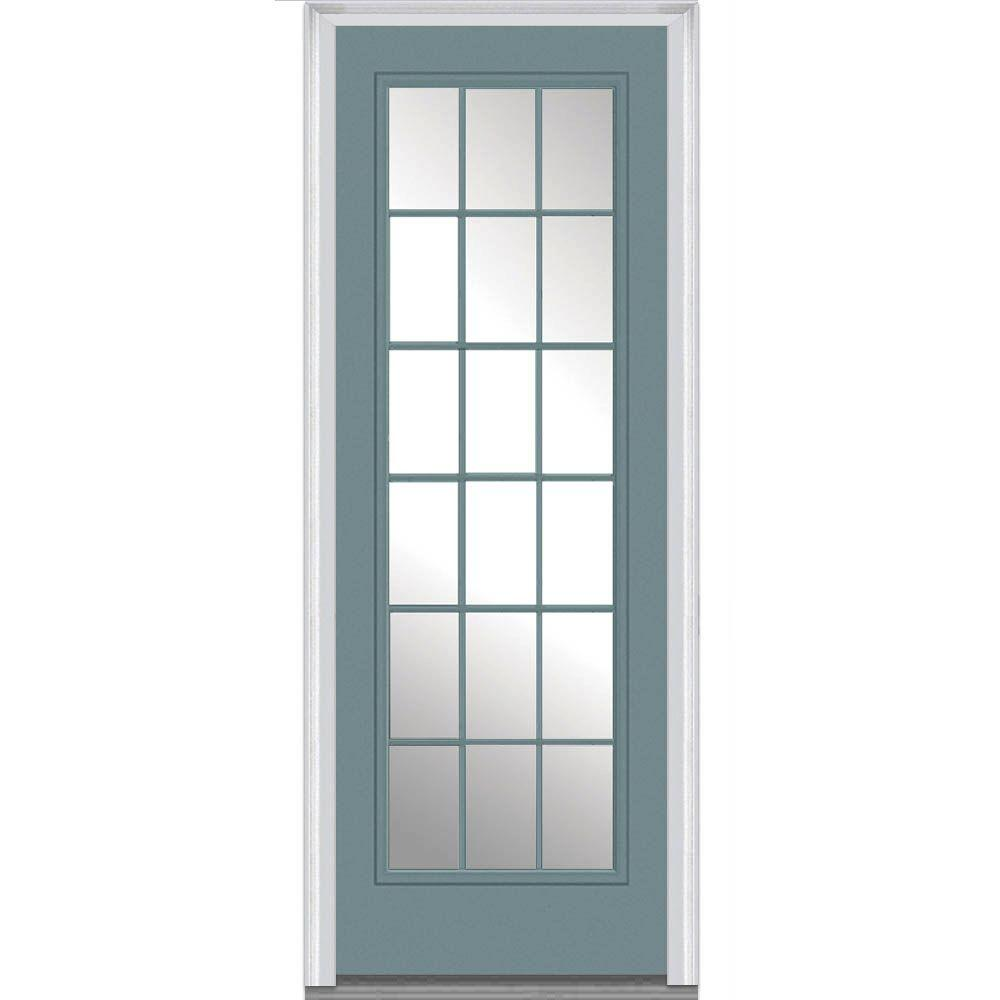 Fiberglass Entry Doors 3 4 Glass With Grilles : Mmi door in clear glass right hand lite
