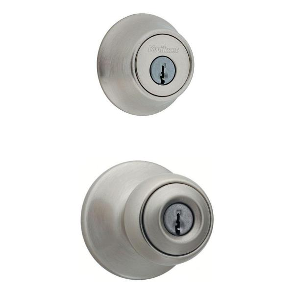 Polo Satin Nickel Single Cylinder Entry Door Knob Lock Deadbolt Combo Pack with Microban Antimicrobial Technology