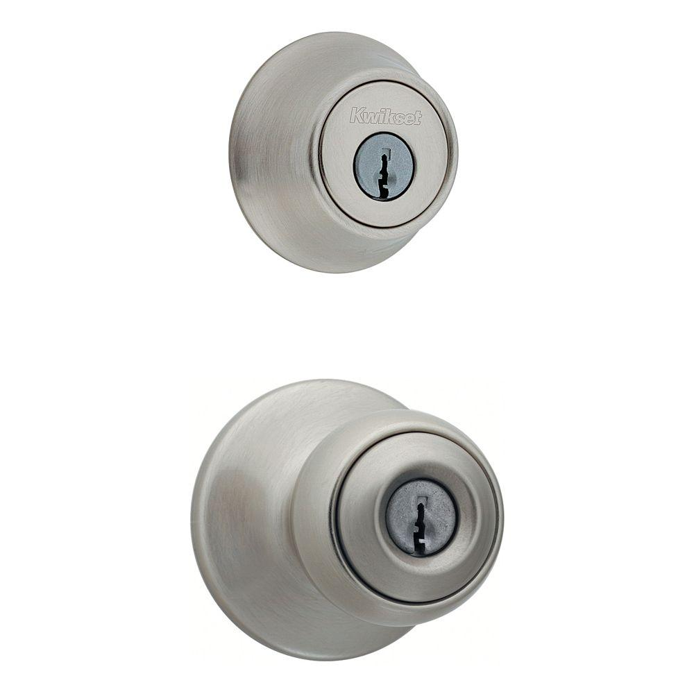 Kwikset Polo Satin Nickel Entry Knob and Single Cylinder Deadbolt Combo Pack