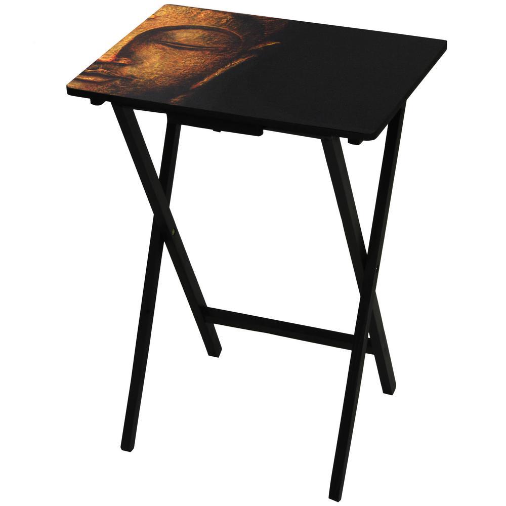 Oriental Furniture 19 in. x 13.75 in. Serene Buddha TV Tray in Black