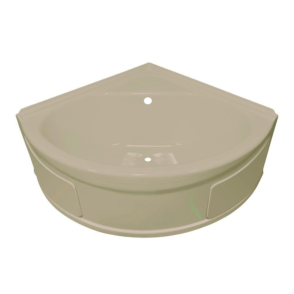 Lyons Industries Sea Wave 4 ft. Heated Center Drain Soaking Tub in Almond